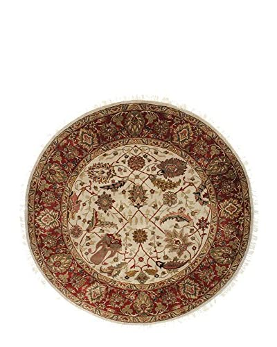 F.J. Kashanian One-of-a-Kind Hand-Knotted Hajalily Rug, Ivory/Red, 6′ Round
