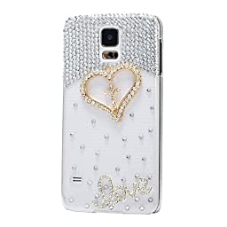 Samsung Galaxy Note 3 Case, Sense-TE Luxurious Crystal 3D Handmade Sparkle Glitter Diamond Rhinestone Ultra-Thin Clear Cover with Retro Bowknot Anti Dust Plug - Cross Heart