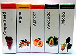 GK Naturals Gift Set- Aroma Carrier Oils (For Skin & Hair Revival)- Pack of 5- (Argan Essential oil, Apricot Essential oil, Avocado Essential oil, Grapeseed Essential oil & Jojoba Essential oil ) 150 ml