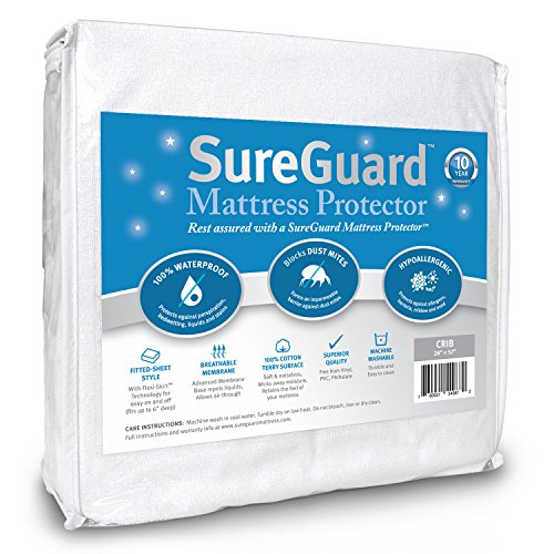 Crib Size SureGuard Mattress Protector - 100% Waterproof, Hypoallergenic - Premium Fitted Cotton Terry Cover - 10 Year Warranty (Crib Mattress Allergen Covers compare prices)