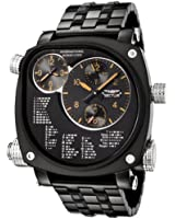 Sector Compass Men's Watch Analogue Quartz Chronograph with Double Time Zone, Morse Code and Black Stainless Steel Bracelet - R3253907025