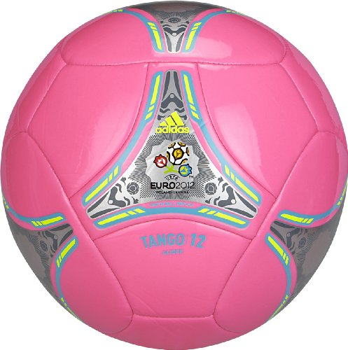 Adidas Euro 2012 Glider Soccer Ball (Ultra Pop Pink/Super Cyan Blue/Electricity Yellow | Metallic Silver, 5)