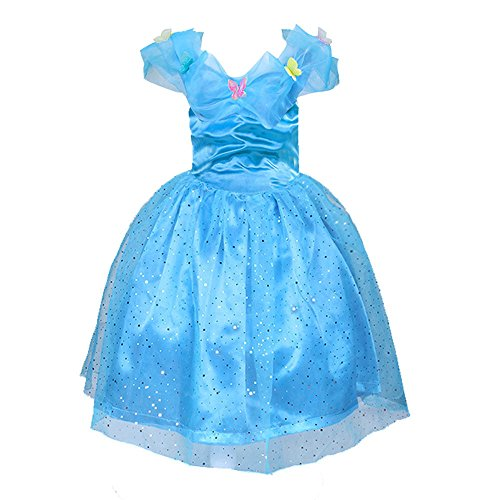 2015 New Cinderella Dress Costume with Butterfly for Girl Blue
