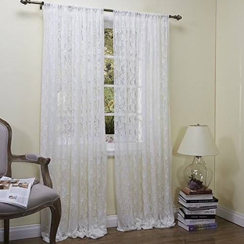 """Lightinthebox (One Panel Rod Pocket)Super Elegant The Dream Of The Princess Floral Lace Sheer Window Curtains Panel (50W×96""""L) front-1024108"""