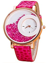 Felizer Round Dial Pink Leather Strap Analog Watch For Women & Girls With Moving Beads