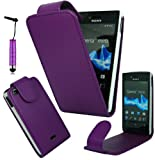 Magic Global Gadgets - New Stylish Purple Magnetic Flip PU Leather Case Cover Pouch For Sony Xperia Miro ST23i With Screen Guard & Stylus
