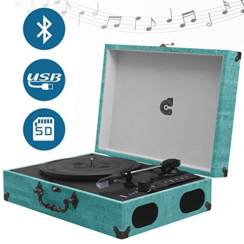 CMC Portable Bluetooth 3 Speed Turntable With Built In Stereo Speakers  Vintage Style Vinyl Record Player Turquoise Reviews
