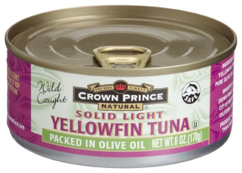 Crown Prince Natural Solid Light Yellowfin Tuna in Extra Virgin Olive Oil, 6-Ounce Cans... by Crown Prince