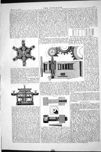 1870 ENGINEERING MACHINERY TABLE DRUM WHEEL COGS ANTIQUE PRINT