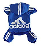 Scheppend Adidog Pet Clothes for Dog Cat Puppy Hoodies Coat Winter Sweatshirt Warm Sweater,Blue Medium