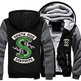 Riverdale mens thick hoodies South Side Serpents coat black men jacket Jughead Jones Archie Andrews Men winter clothes (Color: Black With Grey Sleeves, Tamaño: Size L)