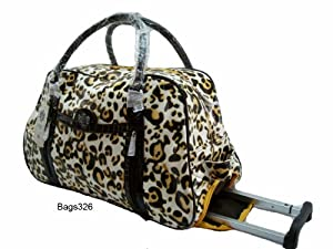 Ladies Travel Holdall Luggage Wheeled Holdall (LEOPARD PRINT) Weekend, Bag, T...