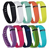 RedTaro 10pcs Replacement Bands with Metal Clasps for Fitbit Flex / Wireless Activity Bracelet Sport Wristband / Fitbit Flex Bracelet Sport Arm Band (No tracker, Replacement Bands Only), Small/Z Rainbow 1