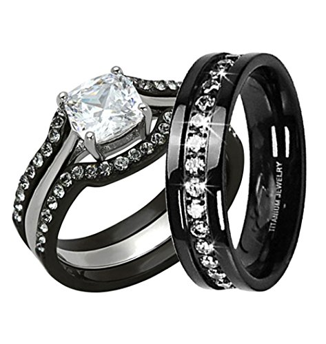 Fashion His And Hers Wedding Ring Set Cushion Cubic Zirconia Black Plated Sta