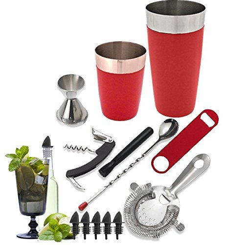 Tiger Chef 14-piece Stainless Steel Bar Set and Cocktail Making Set Includes Bar Tools and Accessories (14 Piece Set, Red) (Tiger Head Bottle Opener compare prices)