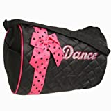 Girls Quilted Nylon Dance Duffle Bag w/ Dark Pink Polka Dot Bow (Black)