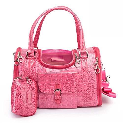 B-JOY Dog Cat Faux Crocodile Pattern Pet Carrier Dog Travel Bag w/Matching Coin Purse (Black or Pink, Large or Small) (L(15.7″x10.2″x7.9″), Pink)