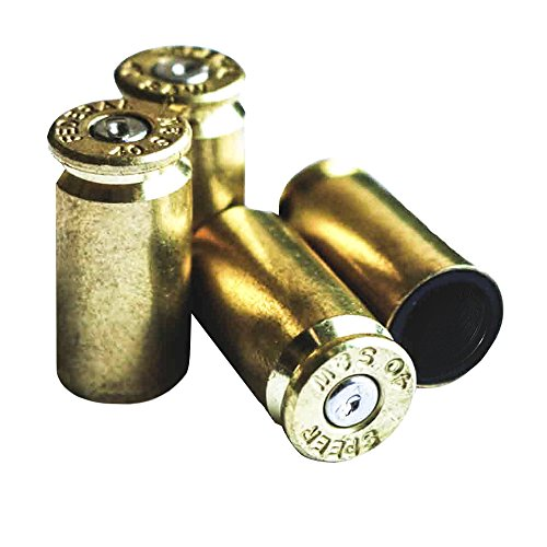 OPG3 Real Bullet Valve Stem Caps Set of 4 Custom Brass Authentic Quality Gold Chrome Polished Silver Anodized Black Aluminum Bullet Easy Screw On Tire Covers Car Wheel Truck Caps (Brass/Gold) (Rim Caps For Chevy Truck compare prices)
