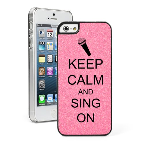 Pink Apple Iphone 5 5S Glitter Bling Hard Case Cover 5G540 Keep Calm And Sing On Microphone