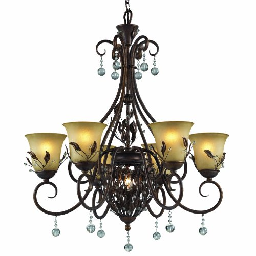 Z-Lite 403-6 Coventry Seven Light Chandelier, Metal Frame, Antique Gold Finish And Tea Stained Shade Of Glass Material
