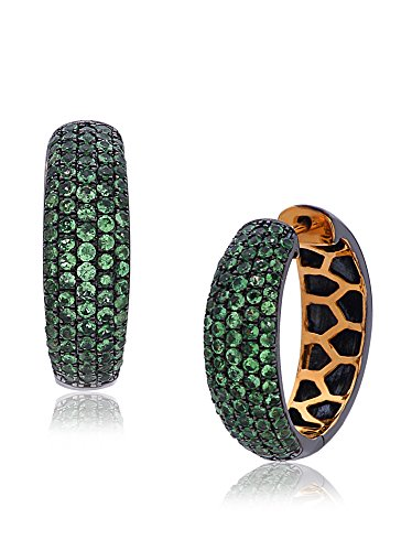 Socheec Everyday Delight Tsavorite Hoop Earrings