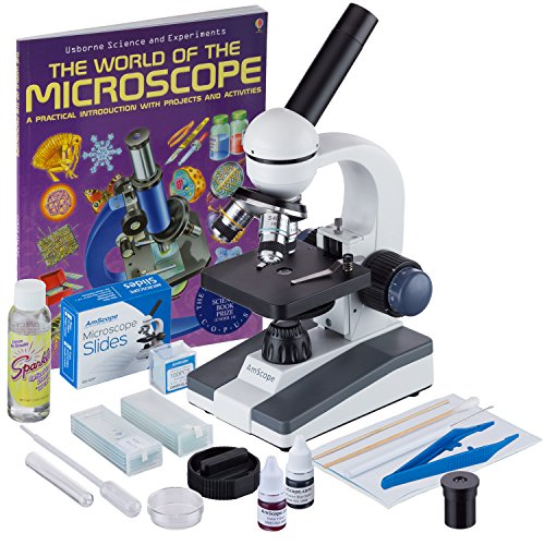 AmScope-M150C-SP14-CLS-50P100S-WM-40X-1000X-Portable-Student-Microscope-with-Extensive-Slide-Preparation-Kit-and-Book