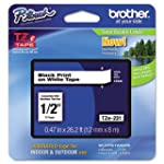 """Brother P-touch ~1/2"""" (0.47"""") Black o..."""