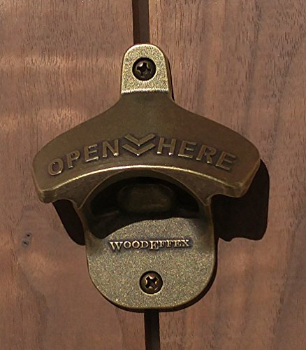 Wall Mount Beer Bottle Opener in Brushed Oil Bronze, Brushed Copper, Brushed Nickel, Shiny Chrome, Shiny Gold and Aged Brass | Includes Mounting Screws (Aged Brass) (Wall Mounted Bottle Opener Bronze compare prices)