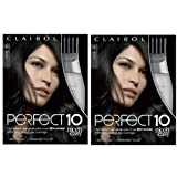 Clairol Perfect 10 By Nice 'N Easy Hair Color Kit (Pack of 2), 002Black Hair Color, Includes Comb Applicator, Lasts Up To 60 Days (Color: 002 Black, Tamaño: Pack of 2)