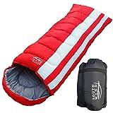 【SOUTH WIND】丸洗いのできる 寝袋 シュラフ 封筒型 耐寒温度 -15℃ コンパクト収納 オールシーズン (レッド)