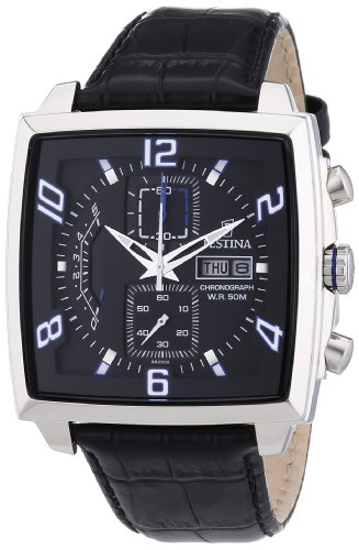 Festina F6826/2 - Reloj cronógrafo de cuarzo para hombre con correa de piel, color negro
