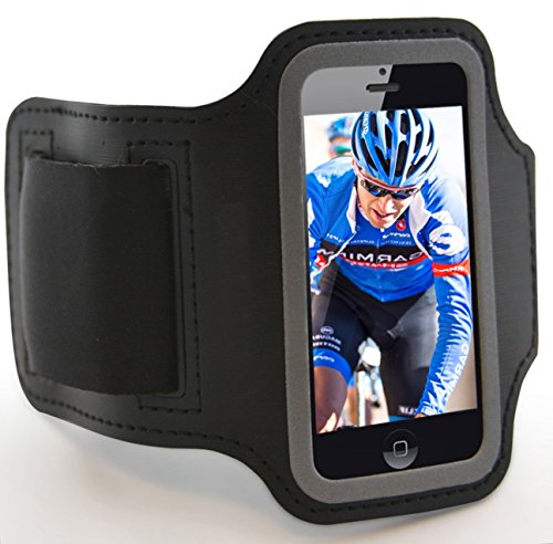 Iphone 5 - Designer Black Sports Armband Case Key Holder - Free Phone Stand. Best Lifetime Guarantee. Ship Free If Buy 2. For Men & Women - Form-Fitting, Custom Fit, Comfortable - Touch Screen Access - Fluid Resistant - Durable & Washable - Supports All C