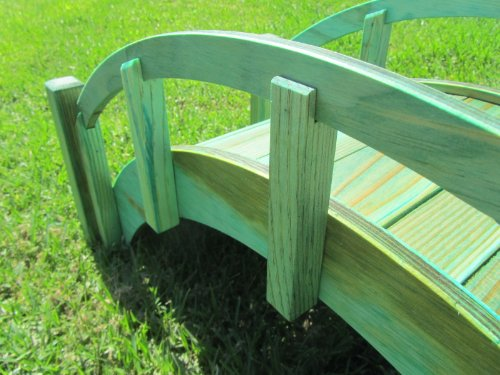 Samsgazebos miniature japanese treated wood garden bridge for Japanese garden structures wood