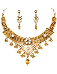 JFL - Glamorous One Gram Gold Plated Polki Cz American Diamond And Pearl Necklace Set For Girls & Women.