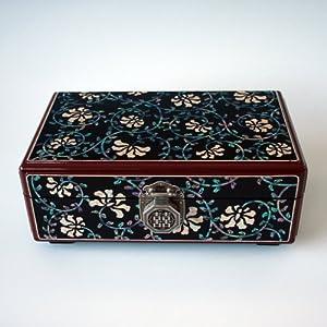 Mother of Pearl Korean Lacquer Wooden Black Arabesque Flower Design Lock Key Jewelry Case Trinket Keepsake Treasure Gift Box Organizer