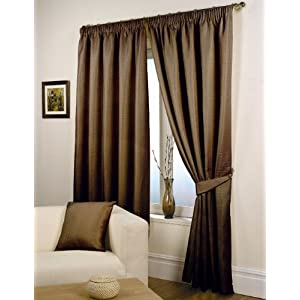 Top Price Waffle Brown Lined Ready Made Curtain Pair 66 X