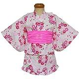 日本製 リング桜柄 セパレート浴衣 ホワイト◇100cm