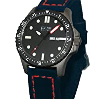 German Military Titanium Watch. GPW Day Date Red Minute Hand. Sapphire Crystal. Blue Leatherstrap with Red Stitching. 200M W/R from ARCTOS Praezisionsuhren