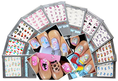 Beautiful Water Nail Tattoo Stickers -Cat, Heart, Flowers, Bows, Butterflies, & More 10- pack by La Demoiselle (Nail Decals compare prices)