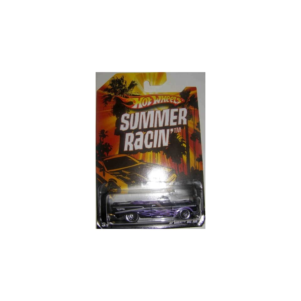 HOT WHEELS 2009 EXCLUSIVE SUMMER RACIN 57 CHEVY BEL AIR CONVERTIBLE BLACK WITH PURPLE FLAMES