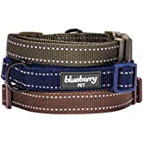 Blueberry Pet Reflective Padded Adjustable Dog Collar, Small, Midnight Navy Blue
