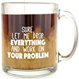 Sure, Let Me Drop Everything And Work On Your Problem - Glass Coffee Mug