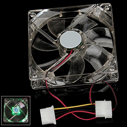 Pc Computer Case Cooling Fan 12V Sleeve Bearing 4 Led Green Light Pack Of 2