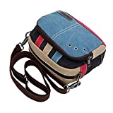 OULII Fashion Casual Canvas Small Shoulder Bag Cross-body Messenger Bag Waist Bag Pack Travel Bag (Blue)