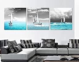 Spirit Up Art Huge Home Decorations-Sailing Boat sail in Blue Sea Canvas Print Modern Wall Painting Art set of 3 Each 50*50cm #14-29 (framed)
