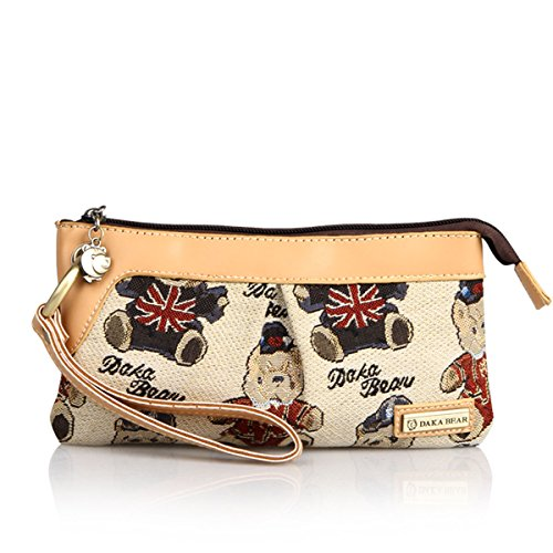 Daka Bear Elegant Tote Clutch Wallet Purse Hand Bags (Jazz Bear Beige)
