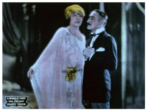 "Edna Purviance with Menjou in ""A Woman of Paris"""