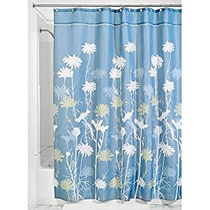 Interdesign Daizy Fabric Shower Curtain Blue And Sage 72 Inch By 84 Inch Home