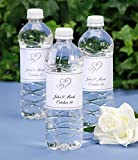 Simple and Elegant Double Heart Print Your Own Water Bottle Labels, for Weddings, Parties, and Events Package of 72