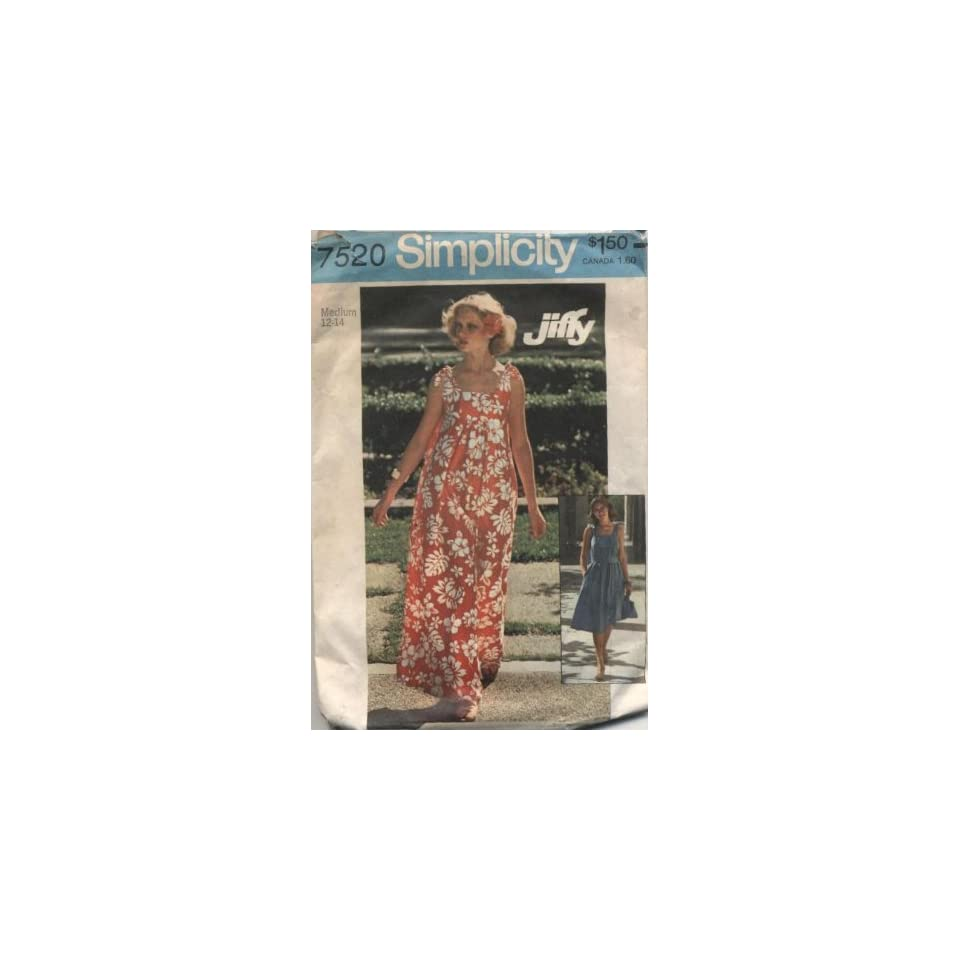 Vintage Simplicity 1970s Womans Sundress and Bag Sewing Pattern